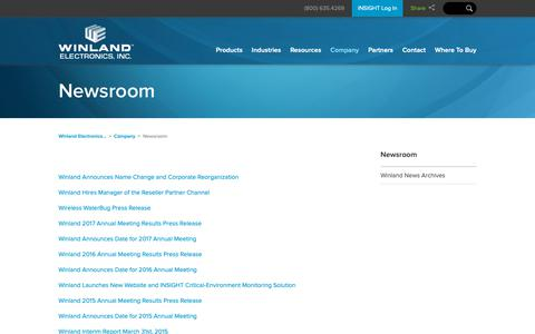 Screenshot of Press Page winland.com - Newsroom   Winland Electronics, Inc. - captured Oct. 20, 2018