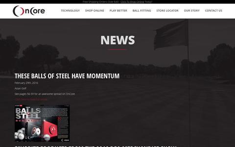 Screenshot of Press Page oncoregolf.com - News | Best Golf Ball Worldwide | Hollow Metal Core Golf Ball | #OnCoreGolf - captured April 28, 2017
