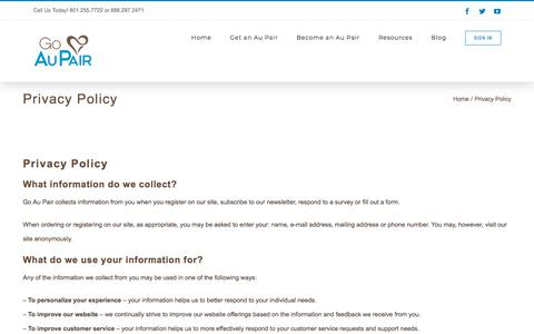 Screenshot of Privacy Page goaupair.com - Privacy Policy   Go Au Pair - captured April 27, 2018