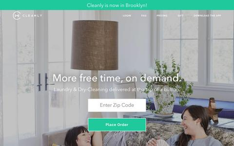 Screenshot of Home Page getcleanly.com - Cleanly - On-Demand Laundry & Dry-Cleaning Delivery App NYC - captured Sept. 20, 2015