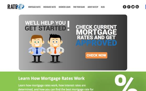 Screenshot of Home Page ratezip.com - Today's Mortgage Rates - Insurance & Bank Reviews | RateZip.com - captured June 17, 2015