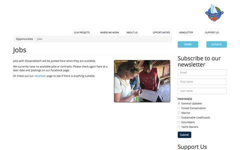 Screenshot of Jobs Page oceanswatch.org - Jobs   OceansWatch - captured Sept. 21, 2018