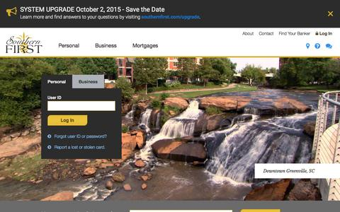Screenshot of Home Page southernfirst.com - Southern First Bank | Business Banking, Personal Banking & Loans - captured Sept. 19, 2015