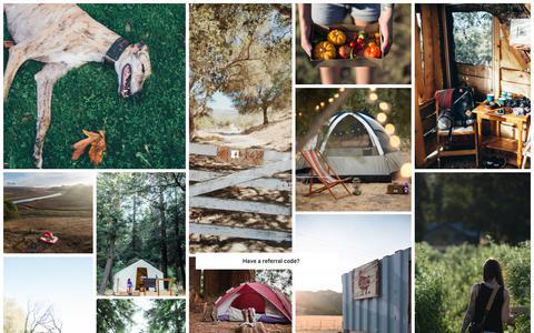 Screenshot of Signup Page hipcamp.com - Access ranches, farms, vineyards, nature preserves... | Hipcamp - captured Nov. 25, 2019