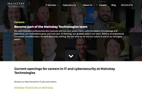 Careers and Benefits | Apply for Jobs at Mainstay Technologies