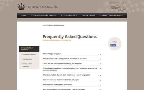 Screenshot of FAQ Page crownjobs.com.au - Crown Careers - Frequently Asked Questions - captured Nov. 5, 2014
