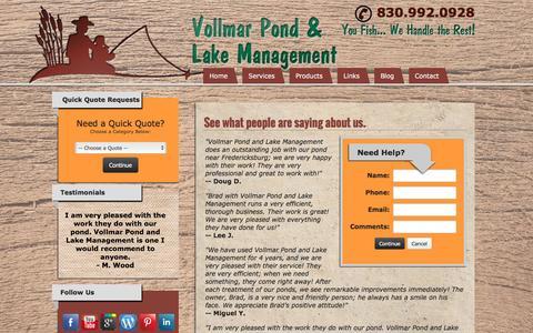 Screenshot of Testimonials Page texaspondmanagement.com - Read Our Lake Management Services Testimonials-Vollmar Pond and Lake Management-Fredericksburg, Texas - captured Sept. 27, 2016