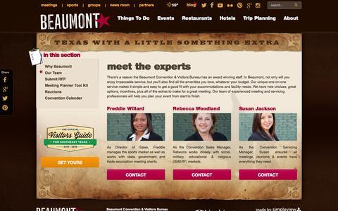 Screenshot of Team Page beaumontcvb.com - Beaumont Convention & Visitors Bureau Staff Directory - captured Feb. 7, 2016