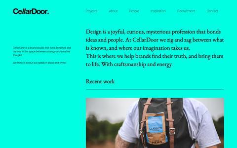 Screenshot of Home Page cellardoorcreative.co.uk - Home - CellarDoor - Creative studio, Cheltenham - captured Sept. 27, 2018