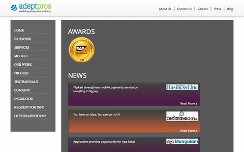 Screenshot of Press Page adeptpros.com - Enterprise Mobility Strategy | Services | Consulting | Cross-Platform App Development - captured Oct. 4, 2014