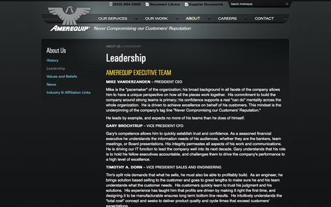 Screenshot of Team Page amerequip.com - Amerequip Executive Team - Design, Engineering and Manufacturing Solutions for OEMs - captured Nov. 20, 2016