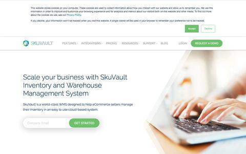 Screenshot of Home Page skuvault.com - SkuVault Inventory & Warehouse Management System - captured Aug. 19, 2018
