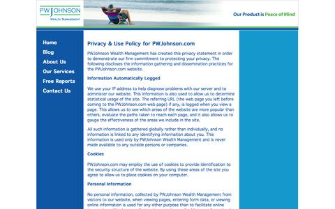 Screenshot of Privacy Page pwjohnson.com - PWJohnson - Wealth Management - Privacy Policy - captured Oct. 1, 2014