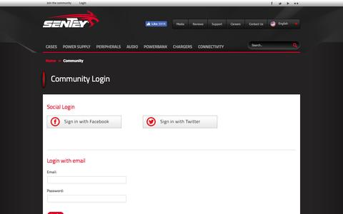 Screenshot of Login Page sentey.com - Sentey :: Community - captured Nov. 16, 2016