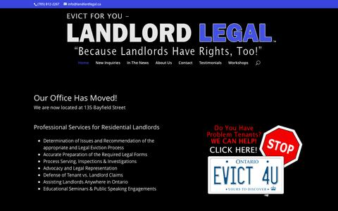 Screenshot of Home Page landlordlegal.ca - Landlord Legal | Because Landlords Have Rights Too - captured May 14, 2017