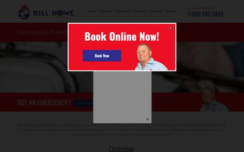 Screenshot of Services Page billhowe.com - San Diego Plumbing & Repair Company | Bill Howe - captured Oct. 5, 2018