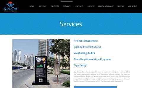 Screenshot of Services Page wisdomdubai.com - Services – Wisdom Advertising - captured Oct. 18, 2018