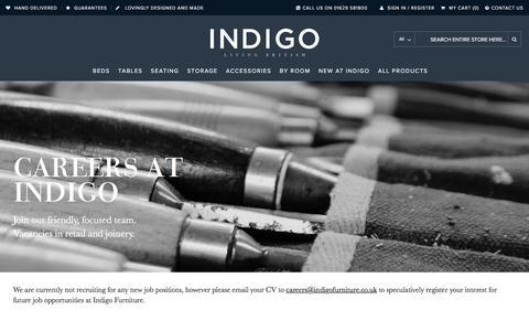 Screenshot of Jobs Page indigofurniture.co.uk - Indigo Careers - About Us - captured June 7, 2017