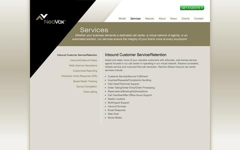 Screenshot of Services Page neovoxglobal.com - NeoVox Global : Services - captured Oct. 9, 2014