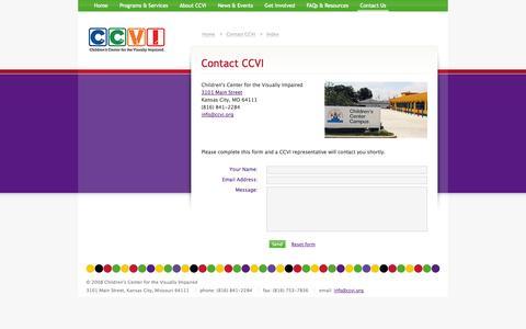 Screenshot of Contact Page ccvi.org - CCVI :  Contact CCVI : Index - captured Oct. 7, 2014