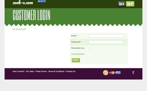 Screenshot of Login Page cook-o.com - Get Cooking Classes, almost, anywhere! | Cook and learn the finest recipes made easy with local chefs - captured Sept. 29, 2018
