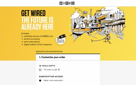 Screenshot of Landing Page wired.com - WIRED Magazine Subscription - captured July 19, 2018