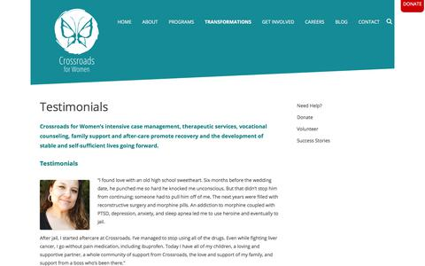 Screenshot of Testimonials Page crossroadsabq.org - Testimonials - captured Sept. 15, 2017