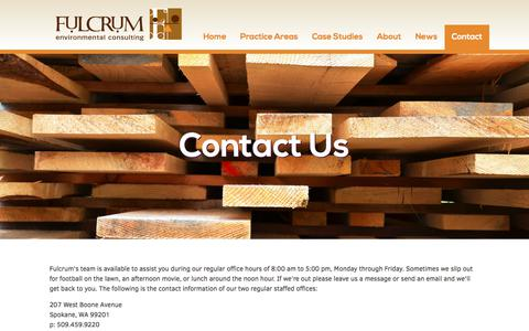 Screenshot of Contact Page efulcrum.net - Contact Us - Fulcrum Environmental Consulting - captured Oct. 14, 2017