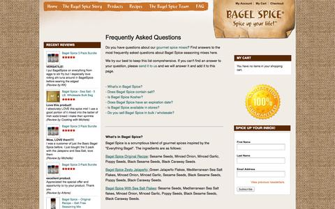 Screenshot of FAQ Page bagelspice.com - Gourmet Seasoning Mix & Cooking Spices FAQ - captured Sept. 30, 2014