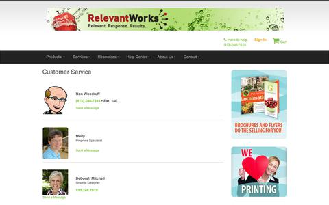 Screenshot of Support Page relevantworks.com - Relevant Works: Customer Service & Our Talented Team - captured Oct. 20, 2018