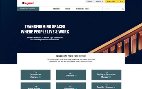 Screenshot of Home Page legrand.us - Legrand US | Wire Management, Wiring Devices, and Cable Management | Legrand - captured Sept. 30, 2016