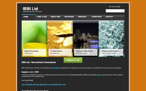 Screenshot of Home Page ibbi-ltd.co.uk - Construction Sales Recruitment Agency | Sales jobs | KBB products sales | Specification Sales | Sales Careers in the UK | Building jobs | Construction Sales Recruitment | Sales Recruitment Agencies | Sales Recruitment ConsultantsIBBI Ltd   Sales Recr - captured Sept. 30, 2014