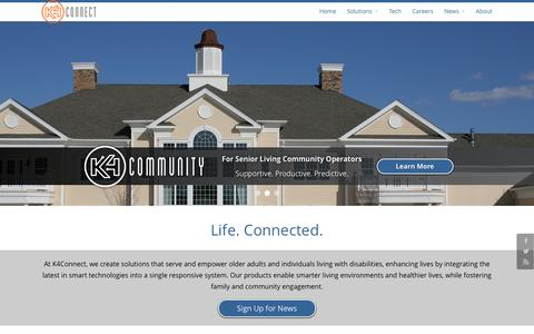 Screenshot of Home Page k4connect.com - K4Connect | Life. Connected. - captured Jan. 9, 2016
