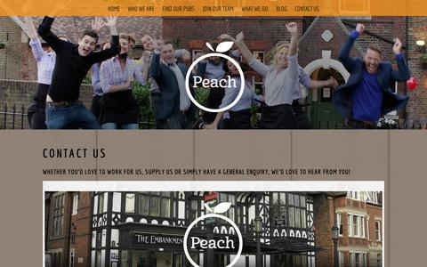 Screenshot of Contact Page peachpubs.com - Contact us | Peach Pubs - captured Oct. 2, 2014