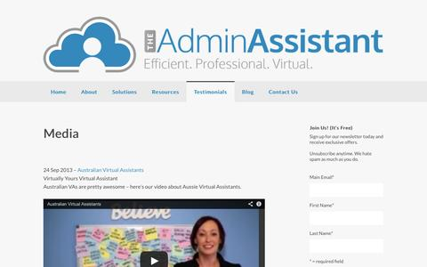 Screenshot of Press Page theadminassistant.com.au - Media - The Admin AssistantThe Admin Assistant - captured Sept. 30, 2014