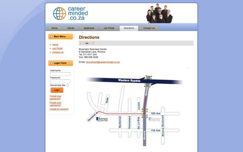 Screenshot of Maps & Directions Page careerminded.co.za - Directions - captured Sept. 29, 2014