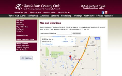Screenshot of Maps & Directions Page rustichills.com - Country Club - Medina, Ohio - captured Oct. 7, 2014