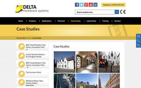 Screenshot of Case Studies Page deltamembranes.com - Case Studies | Waterproofing Projects | Delta Membranes - captured Oct. 11, 2017