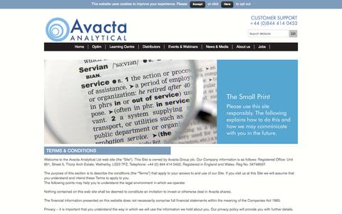 Screenshot of Terms Page avactaanalytical.com - Terms & Conditions - Avacta Analytical - captured Sept. 30, 2014
