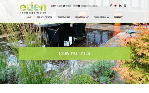 Screenshot of Contact Page myeden.co.uk - Contact Us | Eden Landscape Design - captured Oct. 25, 2016