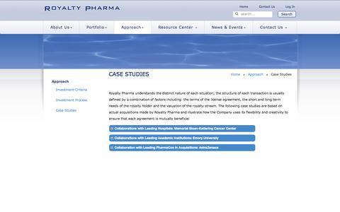 Screenshot of Case Studies Page royaltypharma.com - Case Studies | Approach - captured Oct. 9, 2014