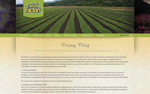 Screenshot of Privacy Page naturalfactors.com - Privacy Policy | Natural Factors - captured Sept. 20, 2018