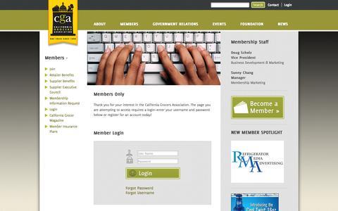 Screenshot of Login Page cagrocers.com - Login - California Grocers Association - captured Oct. 1, 2014