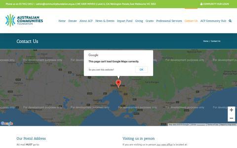 Screenshot of Contact Page communityfoundation.org.au - Contact us - captured Nov. 13, 2018