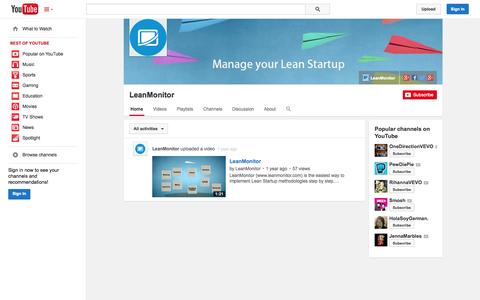 Screenshot of YouTube Page youtube.com - LeanMonitor  - YouTube - captured Oct. 22, 2014