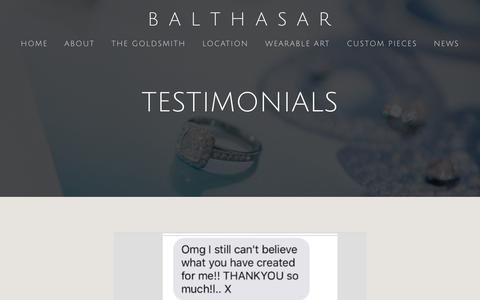 Screenshot of Testimonials Page balthasar.com.au - TESTIMONIALS — B  A  L  T  H  A  S  A  R - captured Nov. 13, 2018