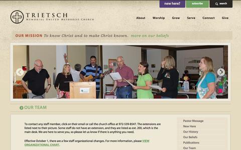 Screenshot of Team Page tmumc.org - Trietsch Memorial UMC: Our Team - captured Oct. 8, 2014