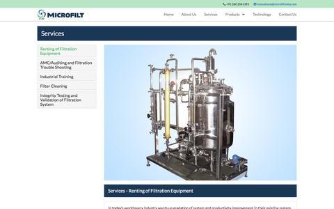 Screenshot of Services Page microfiltindia.com - Microfilt | Services - captured Nov. 18, 2016