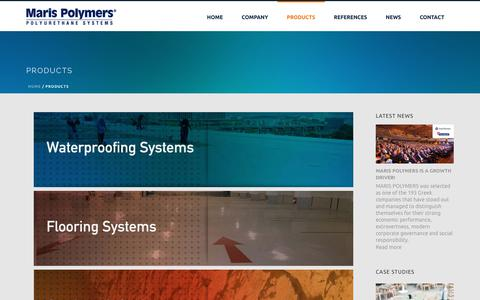 Screenshot of Products Page marispolymers.com - Products   Maris Polymers Polyurethane Waterproofing Systems   Maris Polymers - captured Nov. 7, 2018