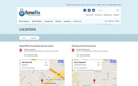 Screenshot of Locations Page fonefix.co.nz - Locations - captured Nov. 3, 2014